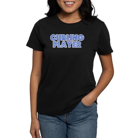 Retro Curling Pla.. (Blue) Women's Dark T-Shirt