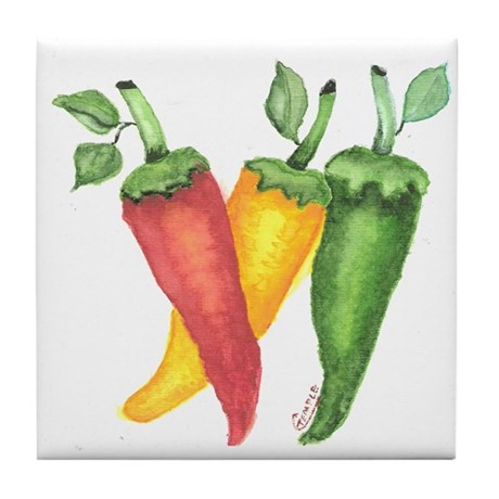 Hot Peppers Tile Coaster
