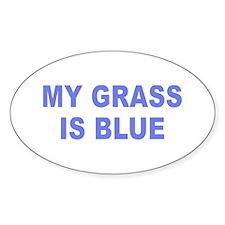 Simple My Grass is Blue Oval Sticker (50 pk)