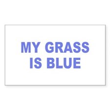 Simple My Grass is Blue Rectangle Decal