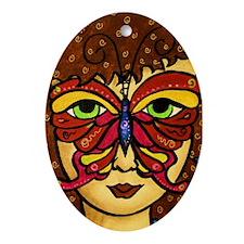 Butterfly Mask Oval Ornament