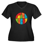 Peace Rocks Women's Plus Size V-Neck Dark T-Shirt