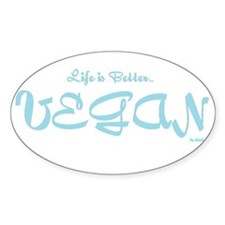Life is better Vegan Stickers (Oval 10 pk)
