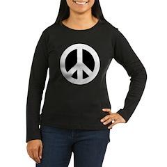 White on Black Peace Sign T-Shirt
