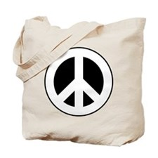 White on Black Peace Sign Tote Bag