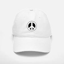 White on Black Peace Sign Baseball Baseball Cap