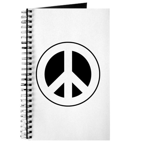 White on Black Peace Sign Journal