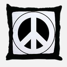 White on Black Peace Sign Throw Pillow
