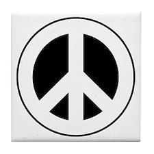 White on Black Peace Sign Tile Coaster