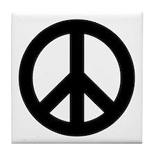 Black Peace Sign Tile Coaster