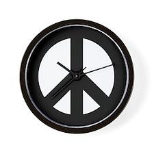 Black Peace Sign Wall Clock