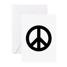 Black Peace Sign Greeting Cards (Pk of 10)