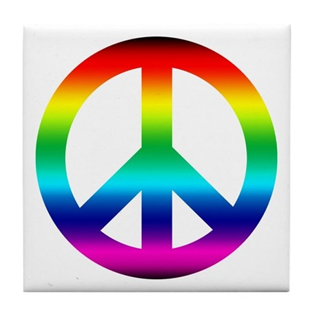 Rainbow Peace Sign Tile Coaster