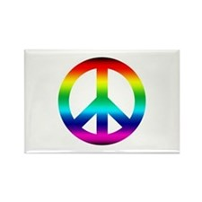 Rainbow Peace Sign Rectangle Magnet