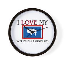 I Love My Wyoming Grandpa Wall Clock