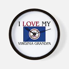 I Love My Virginia Grandpa Wall Clock