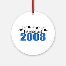 Law School Grad 2008 (Blue Caps) Ornament (Round)