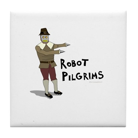 Robot Pilgrims Tile Coaster