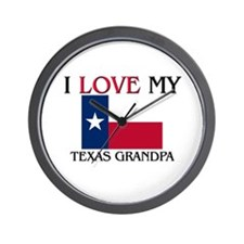 I Love My Texas Grandpa Wall Clock