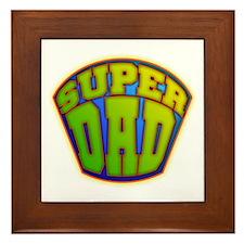 Super Dad Badge Framed Tile