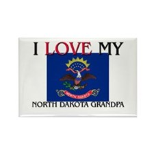 I Love My North Dakota Grandpa Rectangle Magnet
