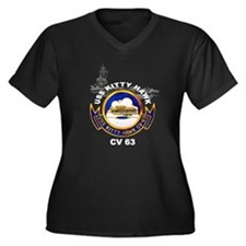 USS Kitty Hawk CV-63 Women's Plus Size V-Neck Dark