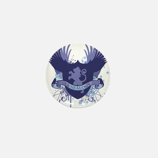 Blue Genealogy Crest Mini Button