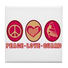 PEACE - LOVE - GUARD Tile Coaster