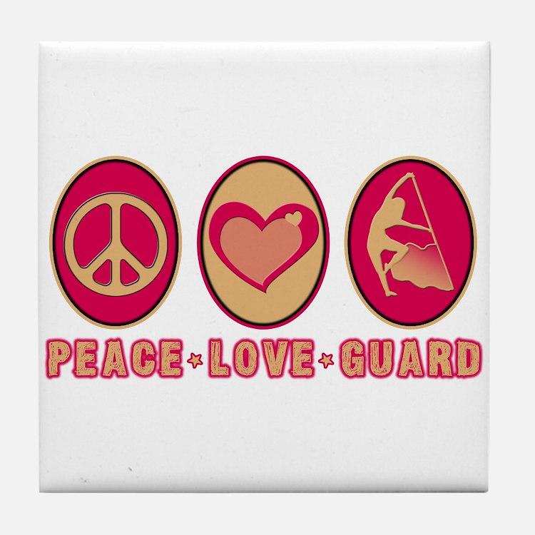 PEACE - LOVE - GUARD Tile Coaster