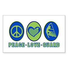 PEACE - LOVE - GUARD Rectangle Decal