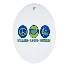 PEACE - LOVE - GUARD Oval Ornament