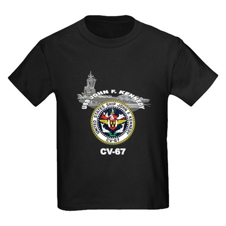 USS John F. Kennedy CV-67 Kids Dark T-Shirt