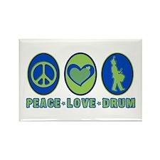 PEACE - LOVE - DRUM Rectangle Magnet