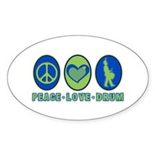PEACE - LOVE - DRUM Oval Decal
