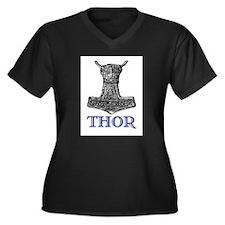 THOR (Hammer) Women's Plus Size V-Neck Dark T-Shir