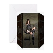 Dungeon Door Dominatrix Greeting Card