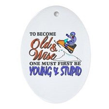 Old & Wise = Young & Stupid Ornament (Oval)