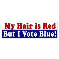 Red Hair, Blue Vote (bumper sticker)