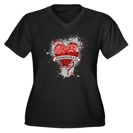 Heart Honduras Women's Plus Size V-Neck Dark T-Shi