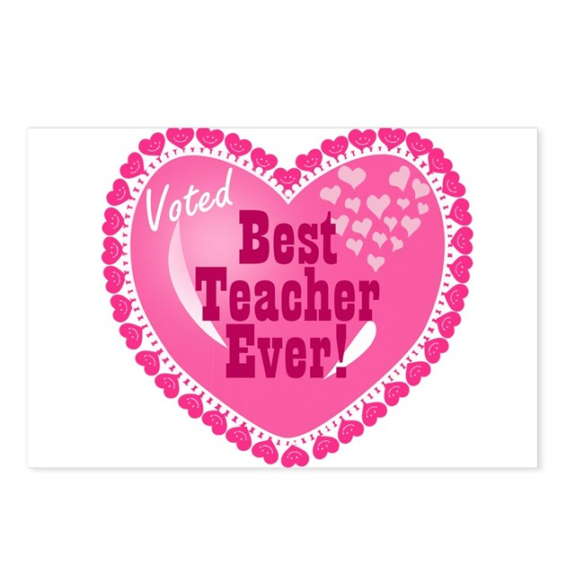voted best teacher ever postcards package of 8 by mblemz