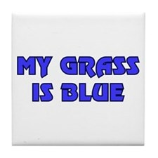 Retro My Grass is Blue Tile Coaster