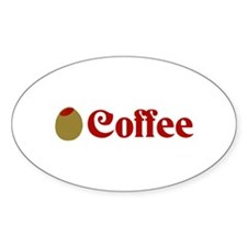 Olive (I Love) Coffee Oval Decal