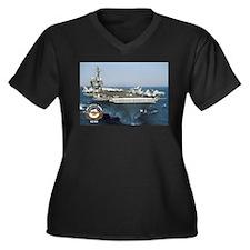 USS Kitty Hawk CV-63 Women's Plus Size V-Neck Dark