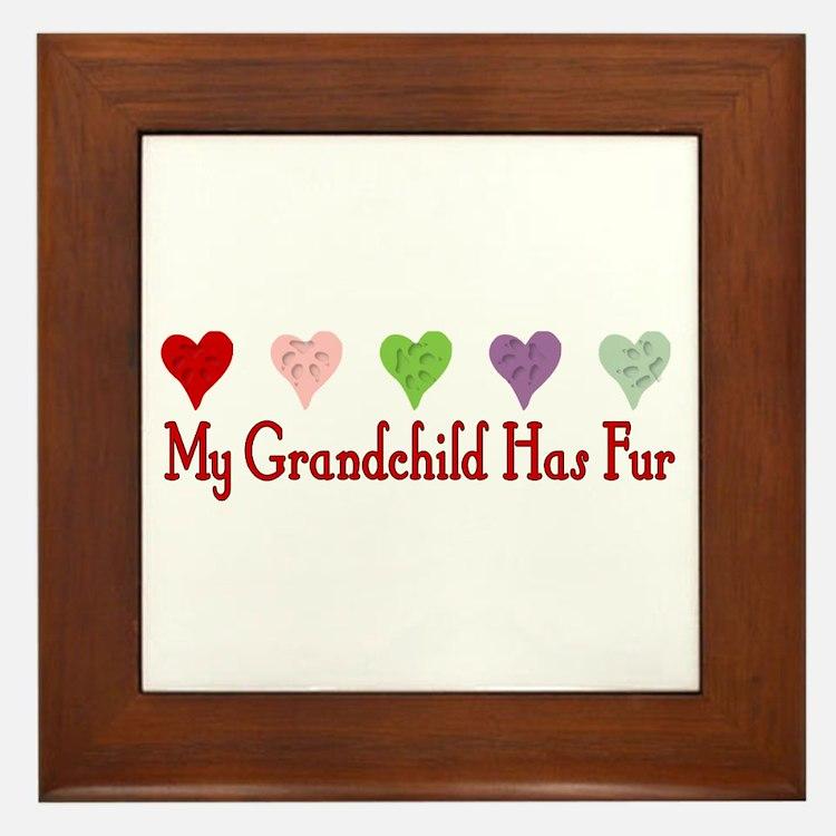 Furry Grandchild Framed Tile
