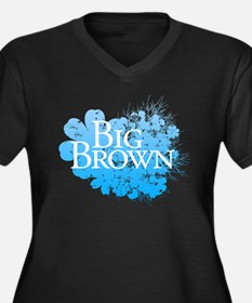 Big Brown Flowers Women's Plus Size V-Neck Dark T-