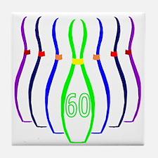 60th birthday bowling Pins Tile Coaster