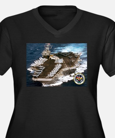 USS John F. Kennedy CV-67 Women's Plus Size V-Neck