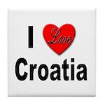 I Love Croatia Tile Coaster