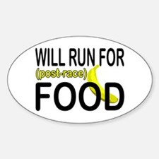 Will Run For Food Oval Decal