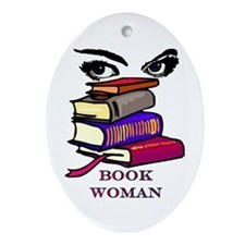 Book Woman Oval Ornament